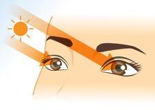 Sunlight into eyes of woman. Sunlight straight into eyes of woman. Illustration about health and vision stock illustration