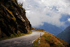 Sunlight falls on empty alpine road Royalty Free Stock Image