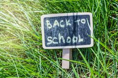 Sunlight falls on the green grass and the black Board with the inscription Back to school. The concept of education, training,. Teacher`s Day royalty free stock photo