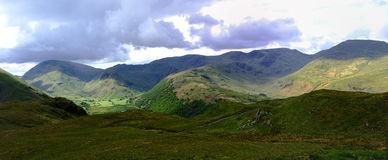 Sunlight on the fells. The southern fells of Patterdale Stock Photo