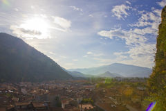 Sunlight flare in Pyrenees Royalty Free Stock Images