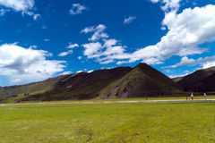Sunlight floods the earth. Blue sky, white clouds and grasslands in the sun Stock Image