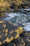 Sunlight highlighting the hexagonal Basalt slabs of Giants Causeway Royalty Free Stock Images