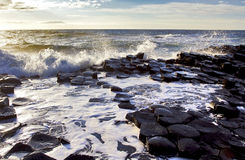 Sunlight highlighting waves crashing onto the hexagonal Basalt slabs of Giants Causeway Stock Photography