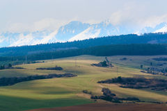 Sunlight in hills of Tatry. Sunlight Dramatic Landscape. view from spis castle stock images