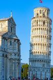 Sunlight hit on the top of the Leaning Tower and Pisa Cathedral Royalty Free Stock Photo