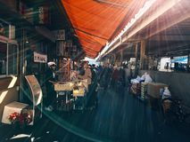 Sunlight inside covered market Royalty Free Stock Photo