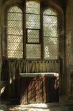 Sunlight on linen fold altar York. Interior of Trinity church York with linen-fold altar Stock Photos