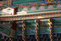 Sunlight through main gyeongbok palace. Sunlight shining on korean traditional patterned ceiling in gyeongbok palace in seoul, south korea Stock Photo