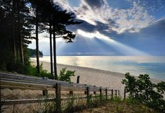Sunlight on Miners beach Upper Michigan royalty free stock photography