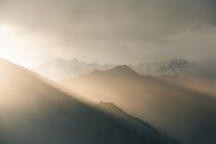 Sunlight Mountain Landscape Himalayas Sarahan Stock Image