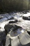 Sunlight on Mountain Stream. Water Carved Rocks, Sunlight, Little Pigeon River, Great Smoky Mtns Nat. Park stock photo