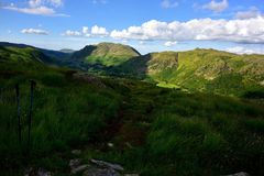 Sunlight over the Angletarn Pikes. The Patterdale Valley from Hartsop above How Royalty Free Stock Photos