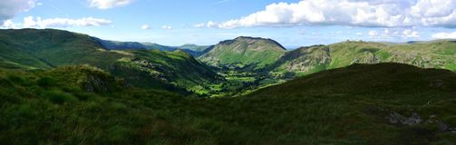 Sunlight over the Deepdale Valley. The Deepdale Valley from Hartsop above How Royalty Free Stock Images