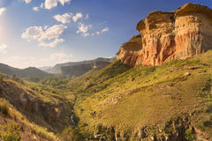 Sunlight over the Golden Gate Highlands NP, South Africa. The Golden Gate Highlands National Park in South Africa photographed in late afternoon sunlight stock photo