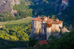 Sunlight over monastery Roussanou in the morning on top of the mountain, Meteora, Greece Stock Photography