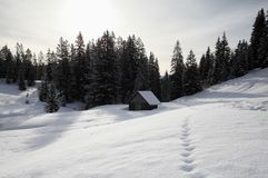 Wooden cabin in deep snow Stock Image