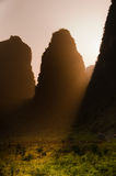 Sunlight passes through mountains in Yangshuo Stock Images