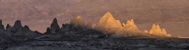 Sunlight playing on the Trona Pinnacles Stock Image