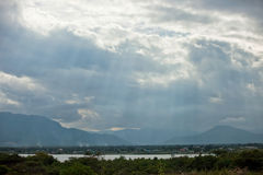 Sunlight pours through the clouds in Vietnam. Sunlight pours through the clouds Royalty Free Stock Images