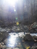 Sunlight Reflecting on the Water. Sunlight reflects on the water at Lower Whiteoak Falls Stock Photo