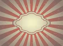 Sunlight retro faded background with vintage frame for text. Pale red and beige color burst background stock illustration