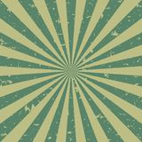 Sunlight retro faded grunge background. green and beige color burst background. Vector illustration. Sun. Beam ray background. Old speckled paper with particles Stock Images