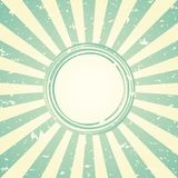 Sunlight retro faded wide background with shabby round frame for text. blue and green color burst background. Vector template illustration. Sun beam ray royalty free illustration