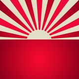 Sunlight retro poster. red color burst background. royalty free illustration