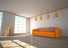 Sunlight Room Orange Couch Royalty Free Stock Photo
