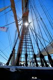 Sunlight Through Sailing Ship Rigging Stock Photography