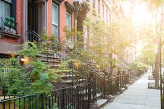 Sunlight shines on historic brownstone buildings in New York City. Sunlight shines on historic brownstone buildings in Manhattan New York City NYC Stock Photos