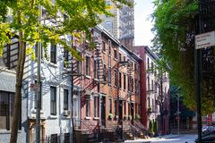 Historic buildings along Gay Street in Greenwich Village New Yor. Sunlight shines on the historic buildings along Gay Street in the Greenwich Village Royalty Free Stock Photos