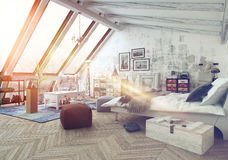 Sunlight shining into modern hipster loft bedroom Stock Photo