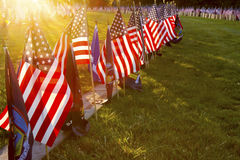 Sunlight on Soldiers Graves at Gettysburg. Gettysburg, PA, USA - November 15, 2014 : 12th Annual Luminary Ceremony at Soldiers Cemetery Royalty Free Stock Photography