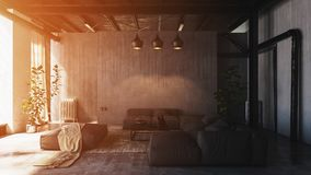 Sunlight in spacious loft living room Royalty Free Stock Image