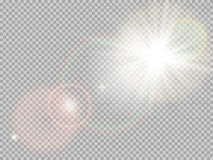 Sunlight special lens flare. EPS 10. Transparent sunlight special lens flare light effect. Sun flash with rays and spotlight. EPS 10 vector file included Stock Photo