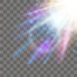 Sunlight special lens flare light effect on transparent background. Vector.  Royalty Free Stock Photo