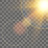 Sunlight special lens flare light effect on transparent background. Vector.  Royalty Free Stock Photography