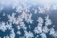 Sunlight spots and frosty pattern on window Stock Photos