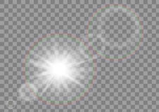 Sunlight sun sparkle with lens flare effect on transparent vector background. Stock Photos