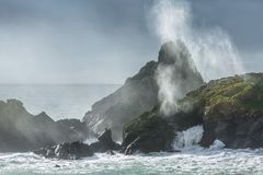 Sunlight and Surf, Kynance Cove, Cornwall stock images