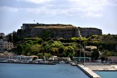 Sunlight on theOld Venetian Fortress of Corfu Stock Photo