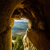 Sunlight thru ancient castle window, North Galilee valley and mountains view, Israel Stock Photos