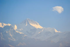 Sunlight on top of the snow mountains in Nepal Royalty Free Stock Photo