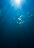 Sunlight from underwater. A submerged view of sunlight streaming through clear, blue water Stock Photo
