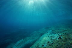 Sunlight underwater Mediterranean sea rocky seabed. Natural sunlight underwater through water surface in the Mediterranean sea on a rocky seabed, Catalonia Royalty Free Stock Photo