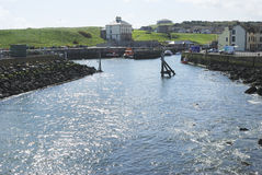 Sunlight on water, Eyemouth harbour, Berwickshire Stock Photos