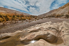 The Sunlight in the Water. The landscape of the national park at Beit Avdat. Israel Stock Image