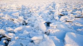 Sunlights in ice blocks at the lake royalty free stock photos